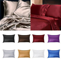 US Sell 2Pcs Solid Silk Pillow Case Cushion Cover Pillowcase Standard Queen Size