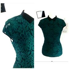 H M top blouse sexy emo goth 60s vintage green size 10