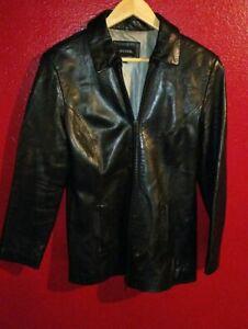 Guess Women's Black Genuine Leather Jacket Coat Size Medium