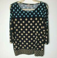 Chico's Women's Top Size 2 (Large, 12) 3/4 Slit Sleeves Casual Black Blue Tan