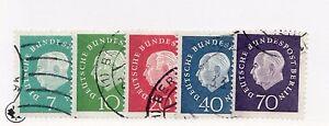 1959 Germany Berlin Sc 9NB165 - 69 Θ used President Theodor Heuss set