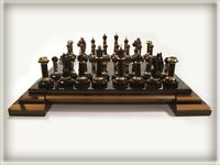 Youlli Cezar Obsidian Chess: New, has its own wooden box, black,brown obsidian
