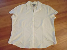 LADIES CUTE WHITE STRIPED SHORT SLEEVE POLY/VISCOSE TOP BY  CROSSROADS- SIZE 20