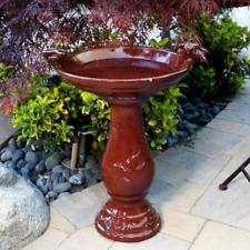 "24"" Elegant Ceramic Pedestal Bird Bath Pool Fountain Bowl Outdoor Garden Patio"