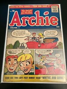 ARCHIE Comics #78 1956 **Classic Innuendo Cover!** Bright/Colorful! VG/FN or FN-
