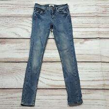 Miss Selfridge Super Skinny Stretch Jeans Faded Blue Distressed Size 8