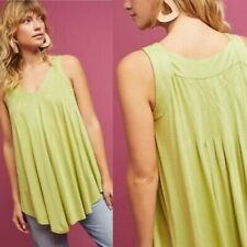 NWT Meadow Rue Anthropologie Green Pleated Tunic Swing Tank Top Blouse Size XS