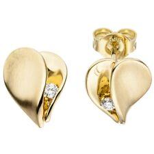 Pendientes Corazón Corazones Con Diamantes Brillantes 585 Oro Amarillo Mate Dama