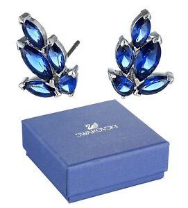New in Gift Box SWAROVSKI Brand 5536549 Rhodium Louison Blue Gem Stud Earrings