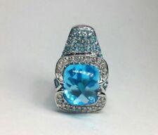 15ct Cabochon London Blue Topaz, 3ct Aquamarine, 1ct Diamond 18k Gold Pendant