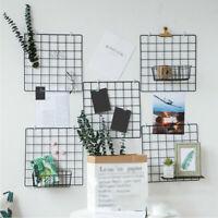 1pc Metal Mesh Grid Panel Photo Wall Display Home Art Decor 10pcs Clips