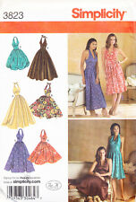 SIMPLICITY SEWING PATTERN 3823 MISSES SZ 6-14 RETRO STYLE HALTER DRESS & MAXI