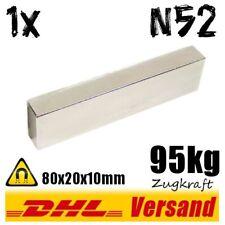 Neodym Magnet Quader 80x20x10mm 8x2x1cm N52 95kg starker flacher Blockmagnet