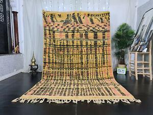 "Handmade Boujad Berber Rug 6'3""x10' Abstract Yellow Black Tribal Moroccan Carpet"