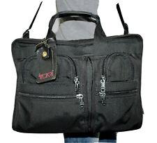 TUMI Large Black Canvas Leather Shoulder Briefcase Satchel Crossbody Purse Bag