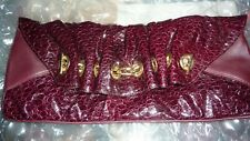 LK BENNETT Bag BURGUNDY Clutch Bordeaux Ruched Patent Leather Animal Print FAB!!