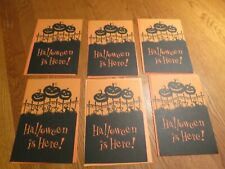 Hallmark Happy Halloween Greeting Card Black  Pumpkin on Fence Lot of 6