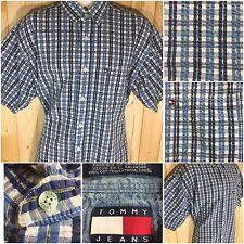 Men's Tommy Hilfiger Jeans Plaid Short Sleeve Button Up Shirt Blue White Sz. XL