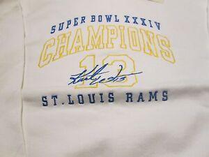 St. Louis Rams Kurt Warner 13 Sweatshirt XL Super Bowl XXXIV Champion
