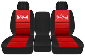 front truck car seat covers blk-red w/mountain  fits Dodge Ram11-18 1500/2500