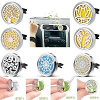 Car Vent Clip Essential Oil Diffuser Aromatherapy 316L Steel Locket Free 7Pads