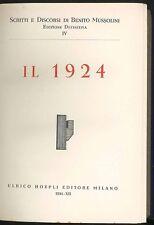 Il 1924 Mussolini Benito Hoepli 1934 Scritti e discorsi Ritratto all'antiporta