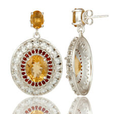 Citrine,Garnet And White Topaz 925 Sterling Silver Drop Dangle Earring Jewelry