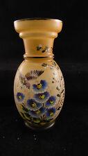 Grand vase balustre en opaline à décor émaillé de fleurs et d'oiseau H32 cm