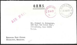 BERMUDA 1872 FEE PAID OFFICIAL IN RED OHMS HAMILTON TO US