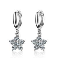 Women Ladies Elegant 925 Sterling Silver Zircon Star Flower Dangle Hoop Earrings