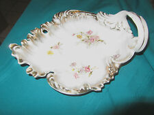 Antique Silesian Germany Art Nouveau Tray dish Handled Dish floral