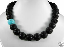 Top Designed Necklace in Lava with Turquoise Pearls 16mm