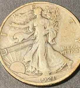 1921 D Key Walking Liberty silver half dollar, High grade, rare