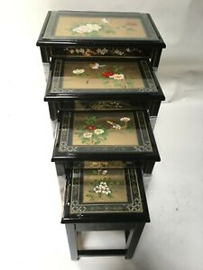 oriental Gold leaves French lacquer nest tables Chinese furniture