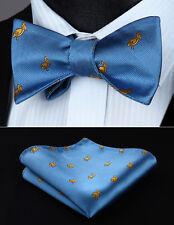 BGA03BS Light Blue Animal Pattern Bowtie Men Silk Self Bow Tie handkerchief set