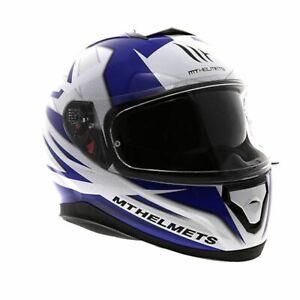 MT Thunder 3 SV Effect Full Face Motorcycle Motorbike Helmet - White/Blue