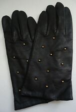 Ladies Studded Genuine Leather Gloves,Large, Black