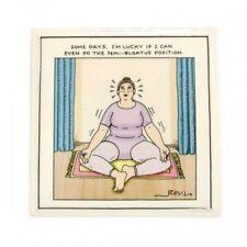 "Funny Yoga Themed Tile ""Semi Bloatus Position"" New 5""x 5"""