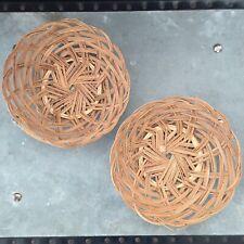 Vintage Cane Woven Flat Basket Bowl Serverware Boho Beach Country Farm Decor