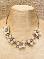 VTG Crystal Rhinestone Necklace Celluloid Flower Gold Choker