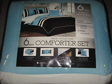 King 6 Pc. Comforter Blue Brown Shams Dust Ruffle Pillows Blanket Oversized NEW!