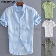 Mens Short Sleeve Casual Solid Linen Shirts Formal Work Smart Tops Tee US STOCK