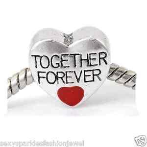 Together Forever Love Heart Charm Bead For Snake Chain Charm Bracelet