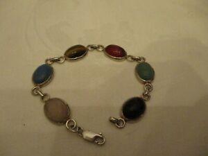 """Vintage Sterling silver Scarab stone link bracelet ,7 """""""