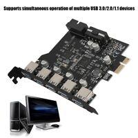 PCI-E to USB 3.0 19-Pin 5 Port PCI Express Expansion Card SATA 15PIN Connector J