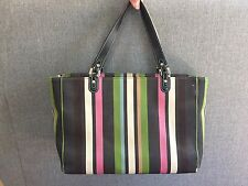 Authentic Kate Spade Stripe Canvas leather Tote Bag  W/ Green leather wallet