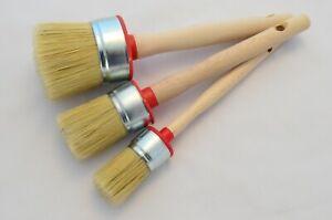 55 40 30 Paint Brush Set 3 Shabby Chic Chalk Paint Pure Bristle Round Brush, Wax