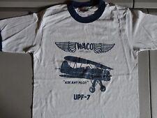 Vintage White 50-50 Biplane Waco Airplanes UPF-7 Ringer t-Shirt Fits Adult XS
