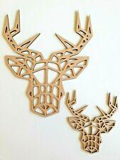 Laser Cut MDF Wood Geometric or Plain Reindeer  Animals Rustic Craft Zoo