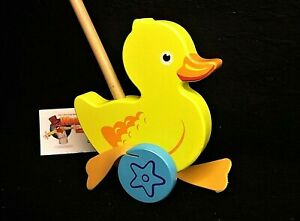 Large Puddle Duck with flapping feet Wooden Push Along Toy - Wooden Toy